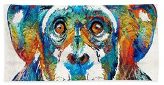 Colorful Chimp Art - Monkey Business - By Sharon Cummings Beach Towel
