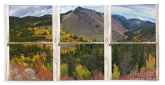 Colorful Colorado Rustic Window View Beach Towel
