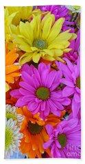 Colorful Daisies Beach Towel by Sami Martin