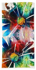 Colorful Daisy Art - Hip Daisies - By Sharon Cummings Beach Towel