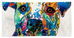Colorful Dog Pit Bull Art - Happy - By Sharon Cummings Beach Towel