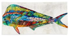 Colorful Dolphin Fish By Sharon Cummings Beach Towel