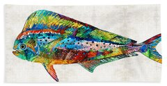 Colorful Dolphin Fish By Sharon Cummings Beach Sheet by Sharon Cummings