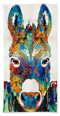 Colorful Donkey Art - Mr. Personality - By Sharon Cummings Beach Sheet by Sharon Cummings