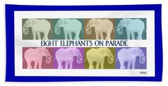 Pastel Elephants On Parade Beach Towel