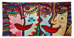 Colorful Faces Gazing - Ink Abstract Faces Beach Sheet