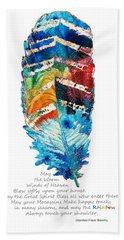 Colorful Feather Art - Cherokee Blessing - By Sharon Cummings Beach Sheet