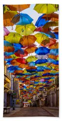 Colorful Floating Umbrellas Beach Sheet by Marco Oliveira