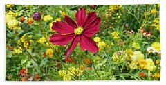 Colorful Flower Meadow With Great Red Blossom Beach Towel
