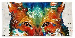 Colorful Fox Art - Foxi - By Sharon Cummings Beach Towel