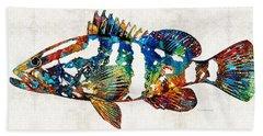 Colorful Grouper 2 Art Fish By Sharon Cummings Beach Sheet by Sharon Cummings