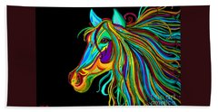 Colorful Horse Head 2 Beach Sheet