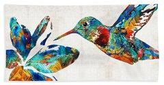 Colorful Hummingbird Art By Sharon Cummings Beach Towel