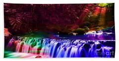 Colorful Landscapes And Water Flow Beach Towel
