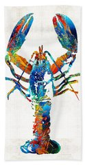 Colorful Lobster Art By Sharon Cummings Beach Sheet by Sharon Cummings