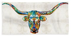 Colorful Longhorn Art By Sharon Cummings Beach Towel