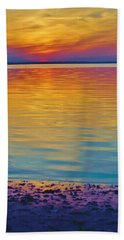 Colorful Lowtide Sunset Beach Towel