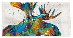 Colorful Moose Art - Confetti - By Sharon Cummings Beach Towel