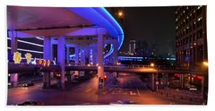 Colorful Night Traffic Scene In Shanghai China Beach Towel