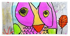 colorful Owl Beach Sheet by Greg Moores