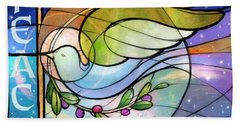 Colorful Peace Dove Beach Towel