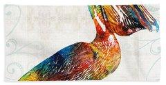 Colorful Pelican Art 2 By Sharon Cummings Beach Sheet by Sharon Cummings