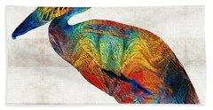 Colorful Pelican Art By Sharon Cummings Beach Towel