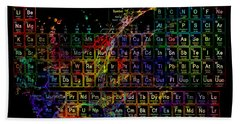 Colorful Periodic Table Of The Elements On Black With Water Splash Beach Towel