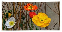 Colorful Poppies And White Willow Stems Beach Towel