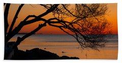 Colorful Quiet Sunrise On Lake Ontario In Toronto Beach Towel