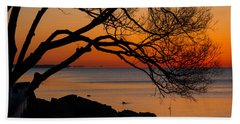 Colorful Quiet Sunrise On Lake Ontario In Toronto Beach Towel