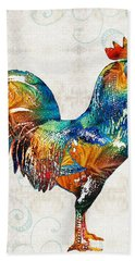 Colorful Rooster Art By Sharon Cummings Beach Sheet by Sharon Cummings