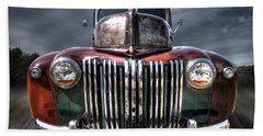 Colorful Rusty Ford Head On Beach Towel