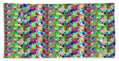 Beach Towel featuring the photograph Colorful Star Graphics Decorations by Navin Joshi
