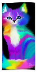 Colorful Striped Rainbow Cat Beach Sheet