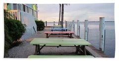 Beach Towel featuring the photograph Colorful Tables by Cynthia Guinn