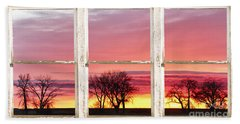 Colorful Tree Lined Horizon White Barn Picture Window Frame  Beach Towel