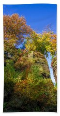 Colorful Trees In The Elbe Sandstone Mountains Beach Sheet