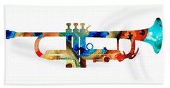 Colorful Trumpet Art By Sharon Cummings Beach Sheet by Sharon Cummings