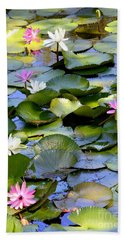 Colorful Water Lily Pond Beach Sheet