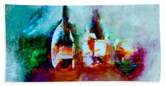Beach Towel featuring the painting Colorful Wine Serenade by Lisa Kaiser