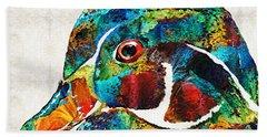 Colorful Wood Duck Art By Sharon Cummings Beach Towel