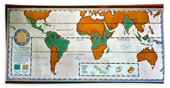 Colorful World Map Of Coffee Beach Towel