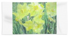Colorful  Yellow Flowers Beach Towel