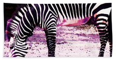 Colorful Zebra 2 - Buy Black And White Stripes Art Beach Towel by Sharon Cummings