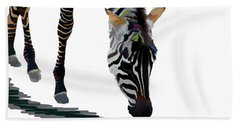 Beach Sheet featuring the digital art Colorful Zebra 2 by Teresa Zieba
