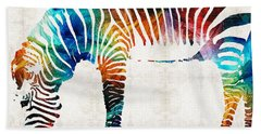 Colorful Zebra Art By Sharon Cummings Beach Sheet by Sharon Cummings