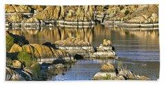 Colors In The Rocks At Watsons Lake Arizona Beach Sheet