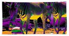 Colourful Zebras  Beach Towel