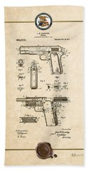 Colt 1911 By John M. Browning - Vintage Patent Document Beach Towel